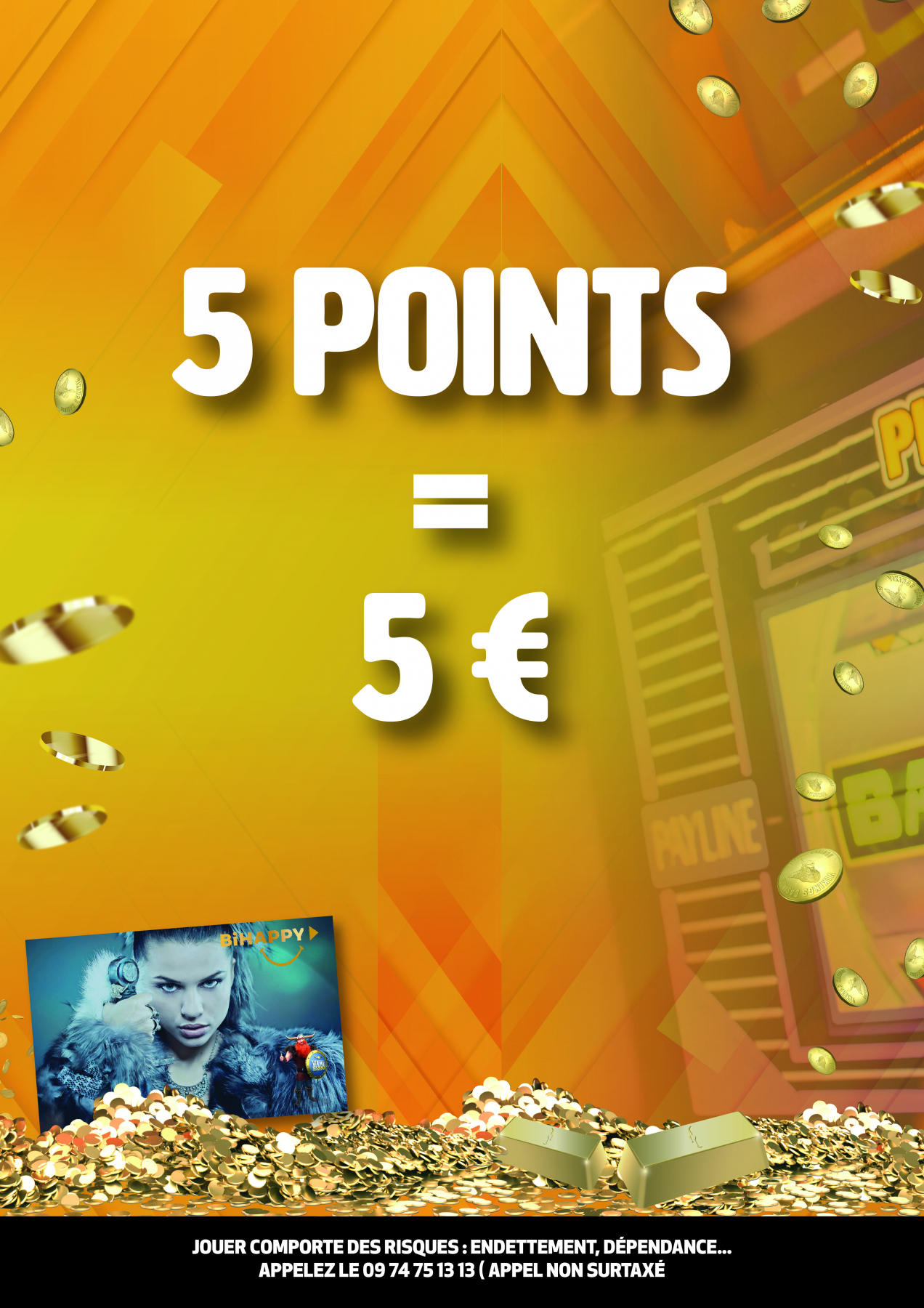5 points = 5€