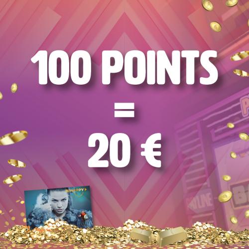 100 points collectés = 20€ en ticket de jeu
